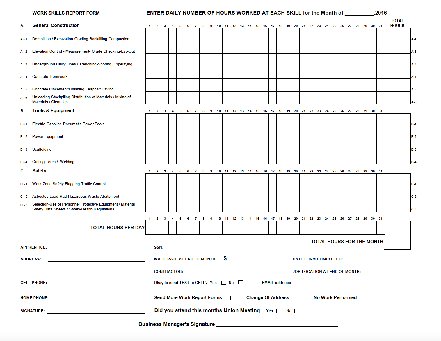 Work Report Form 2017 for Download and Print